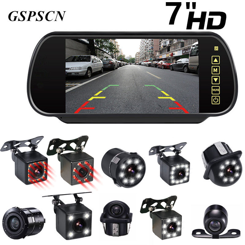 GSPSCN Upgrade Reversing Backup Rear View Camera LED Night Vision Infrared Full Touch Screen 7 Inch LCD Rearview Mirror Monitor