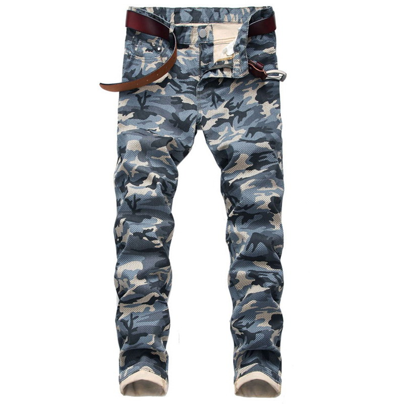 Men Casual Stretch Jeans Men Military Camouflage Personalized Pattern Pants Skinny Denim Stretch Pants Men's Jeans