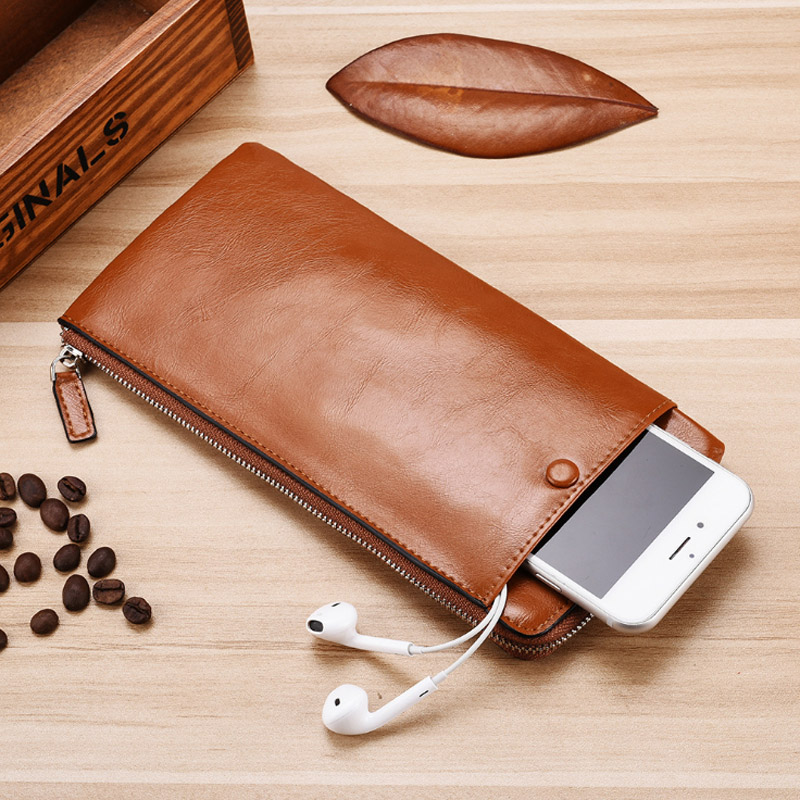 Ultrathin Small Wallet Classic Long Style Card Holder Male Phone Purse Zipper Large Capacity Big Brand Luxury Wallet Men Portfel