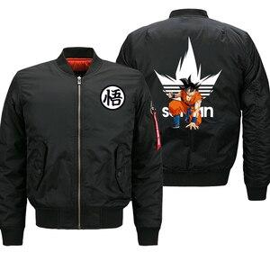 Image 1 - Dragon Ball Z Anime Saiyan Jacket Men Motorcycle Biker Thick Coat Autumn Winter 2019 Mens Bomber Jacket Military Jacket Plus 8XL