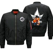 Мужская байкерская куртка Dragon Ball Z, толстая байкерская куртка в стиле милитари, куртка бомбер большого размера 8XL, Осень зима 2019