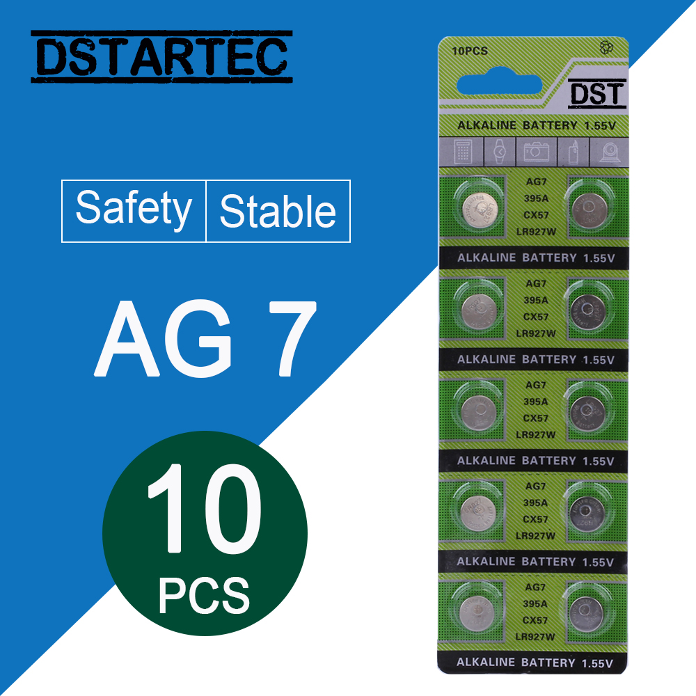 10pcs/card 30mAh 1.55V AG7 LR927 LR57 SR927W 399 GR927 395A AG 7 Battery Button Batteries For Watch Toys Remote Cell Coin Batte