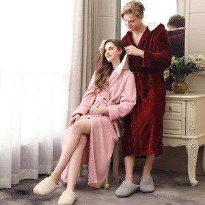 Image 3 - Paar Pyjamas 2019 Winter Mit Kapuze Bademantel Lange Dicke Flanell Paar Bademantel Lose Plus Größe Pyjama Hause Kleidung Nachtwäsche