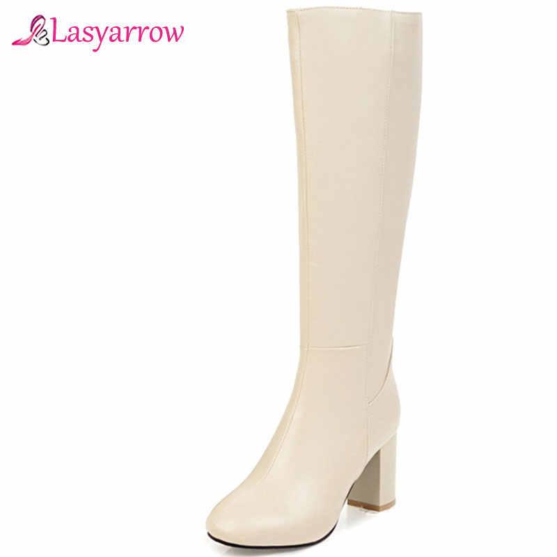 Lasyarrow büyük boy 34-45 moda sonbahar kış çizmeler kadın kare ayak zip yüksek topuklu ayakkabı diz yüksek çizmeler kadınlar 2019 yeni