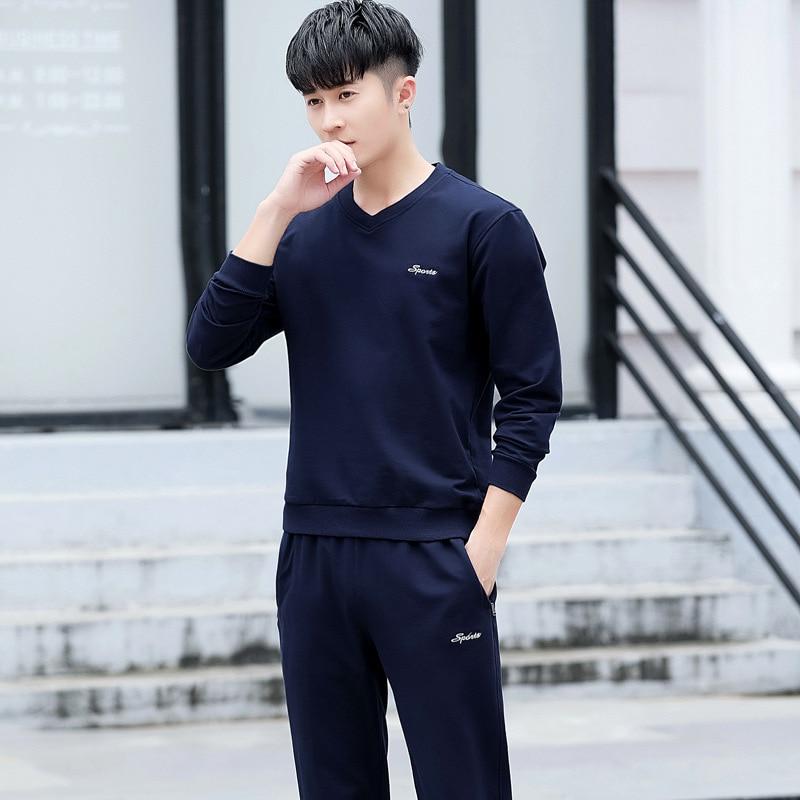 2019 New Style MEN'S Hoodie Sports Set Men's Autumn Leisure Suit Youth Men's Two-Piece Set