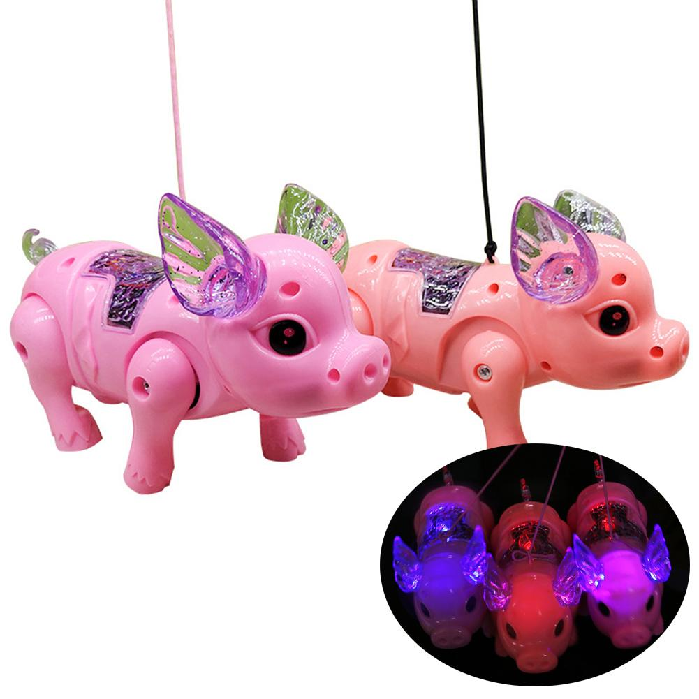 Electric LED Lighting Musical Pig Animal With Leash Walking Xmas Toy Kids Educational Toys For Children Gift