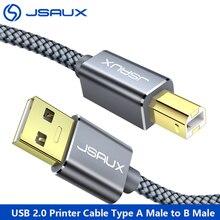 كابل طابعة JSAUX Dell USB من النوع A ذكر إلى B ذكر سلك ماسح ضوئي للطابعة 2 متر/3 متر سرعة عالية متوافقة مع HP Canon Dell Epson Lexmark Xerox