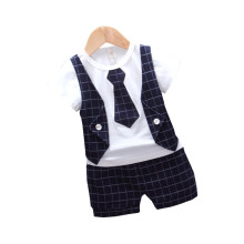 New Summer Children Fashion Tracksuits Baby Boys Girls T-shirt Shorts 2Pcs/sets Kids Gentleman Cotton Clothes Infant Sportswear