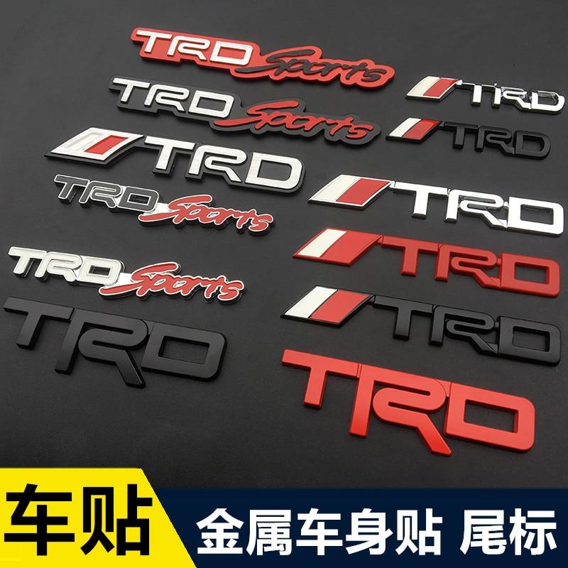 1pcs 3D Metal TRD Car Logo Grill Emblem Decal Chrome Car Sticker Car Styling For Toyota CROWN REIZ PRIUS COROLLA PREVIA Camry