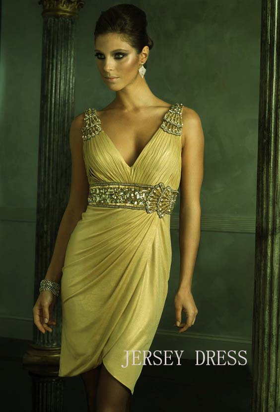 Free Shipping 2018 V-neck New Design Formal Gowns Beading Crystal Sexy Prom Short Party Gold Mother Of The Bride Dresses