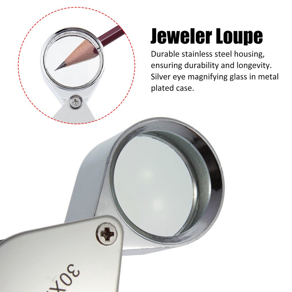 Mini 30x Magnifying Magnifier Jeweler Eye Jewelry Loupe Loop 30*21mm Triplet Jewelers Eye Glass Jewelry Diamond
