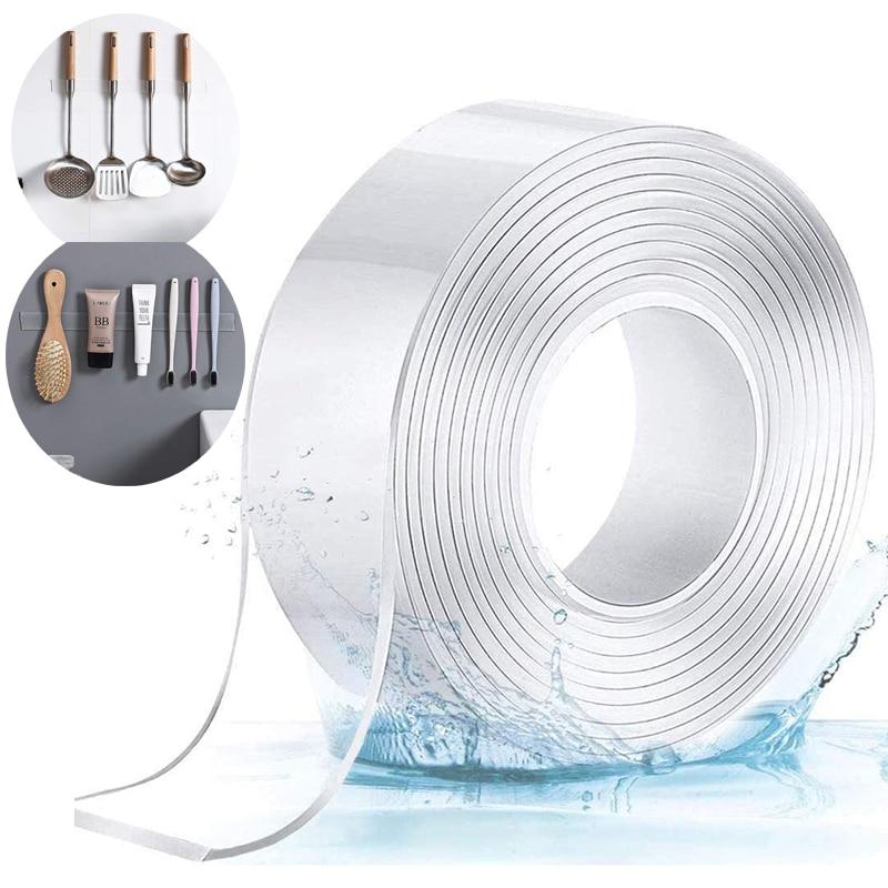 1m/3m/5m nano fita dupla face fitas mágicas transparente notrace reusável impermeável fita adesiva limpa casa banda