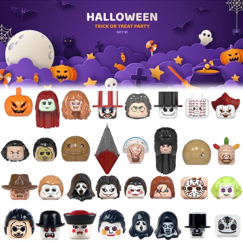 Happy Halloween Terror Joker Pumpkin Jason Zombie Ghost Action Figure  Educational Building Blocks Bricks Toys For Children Head