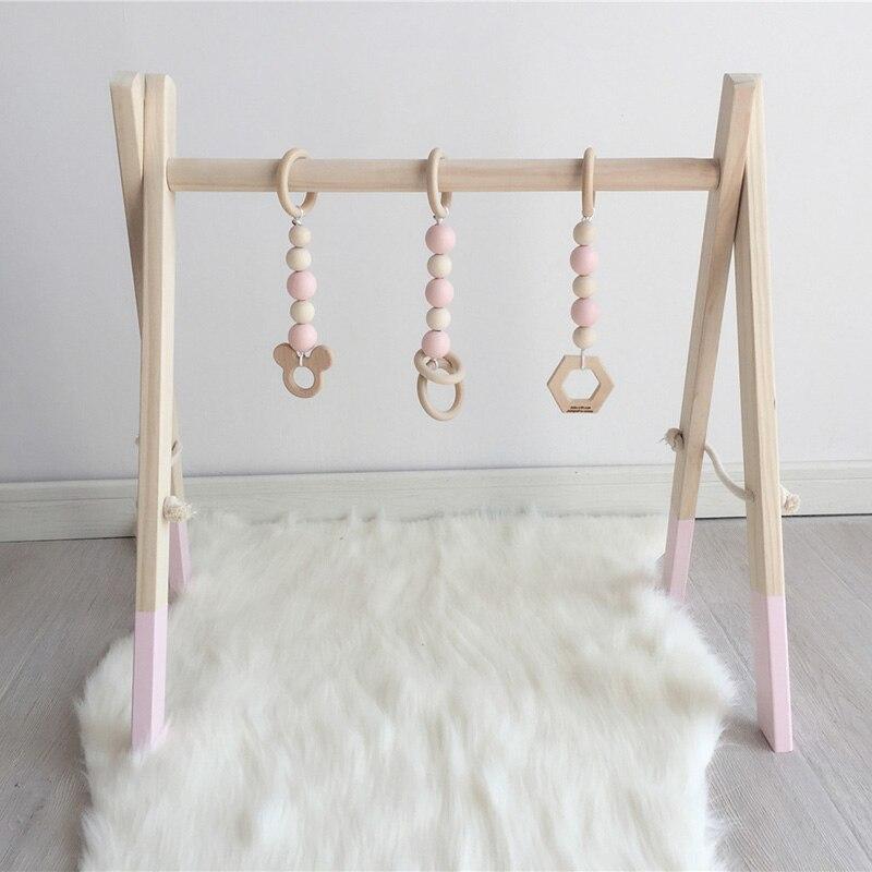Cadre nordique de gymnastique d'activité de bébé avec des Mobiles pour les nouveau-nés décor de chambre de bébé en bois début jouets éducatifs photographie Prop - 4