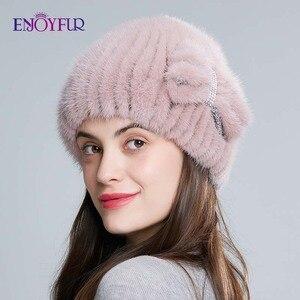 Image 2 - ENJOYFUR الطبيعي فرو منك القبعات للنساء الشتاء عالية الجودة محبوك الفراء قبعات سميكة الدافئة الروسية الإناث قبعة