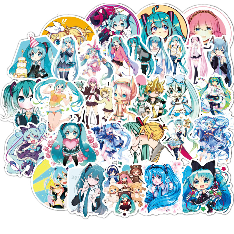 50Pcs/New Hatsune Miku Cartoon Waterproof DIY Decals Sticker For Fridge Suitcase Stationery Developer Decor