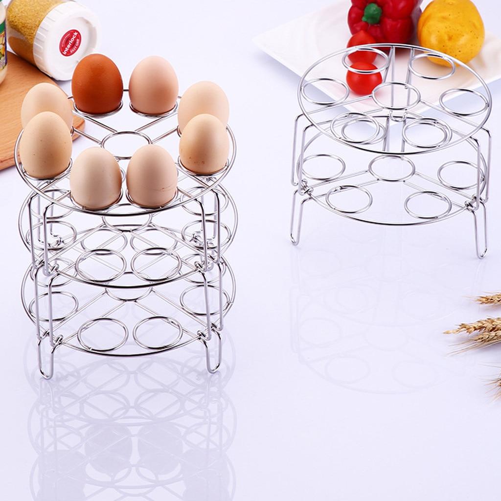 New Stainless 9 Holes Steel-Egg Steamer Rack  Boiled Egg Holder For Pressure Cooker Basket Kitchen Tool Cookware