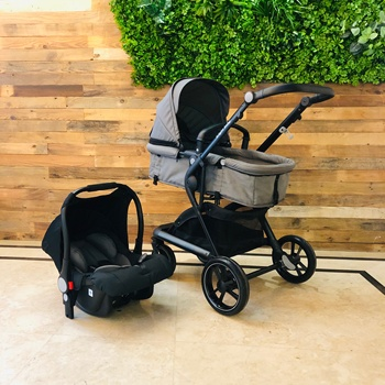 Brightbebe Newest baby carriage 3 in 1 baby stroller 4 wheel aluminium car safety seat image