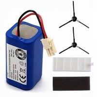 2x bateria recarregável filtro + 2 x escova 14.8v 2800mah robótico aspirador de pó acessórios peças para chuwi ilife a4 a4s a6