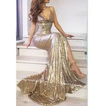 Summer Formal Dresses Women Prom Long Sequin Dress Evening Gold Sleeveless V-Neck Spaghetti Strap Maxi