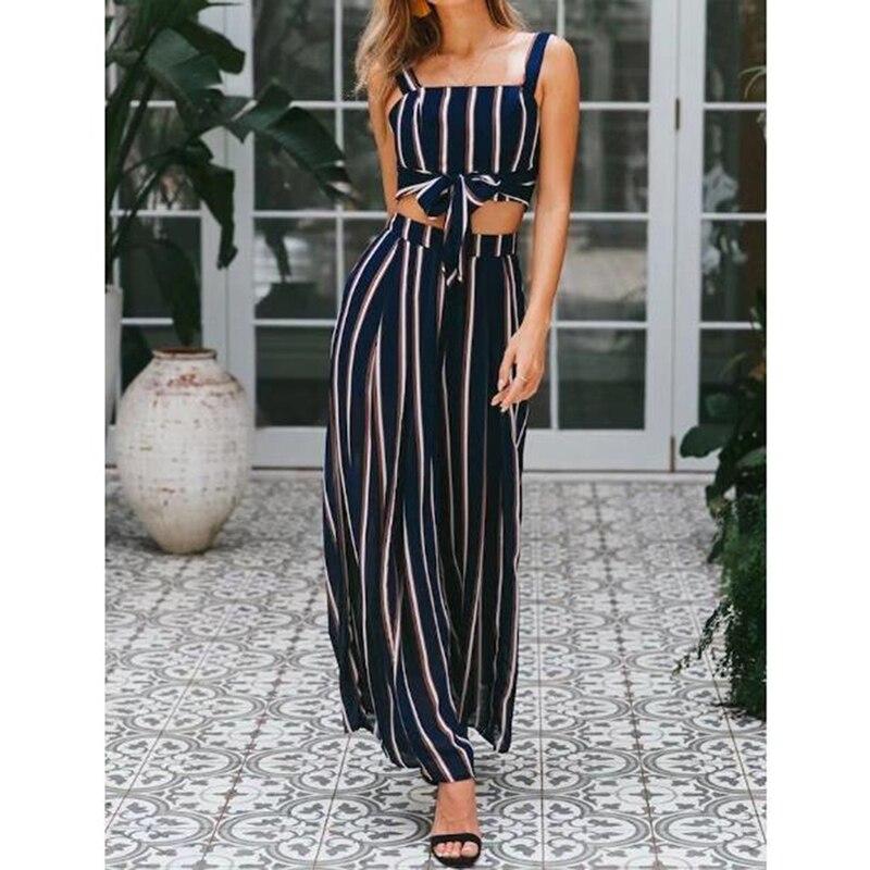 Горячая Распродажа, женские элегантные комплекты, новые полосатые сексуальные топы без рукавов + полосатые длинные штаны, комплекты
