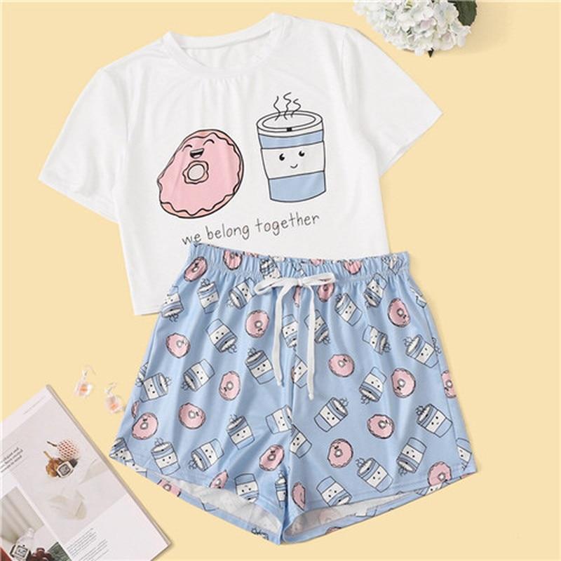 QWEEK Woman Pajamas Summer Pijama Mujer Kawaii Pajamas Cute Short Sleeve Lounge Wear Sleepwear Set Suit For Home Women 2020