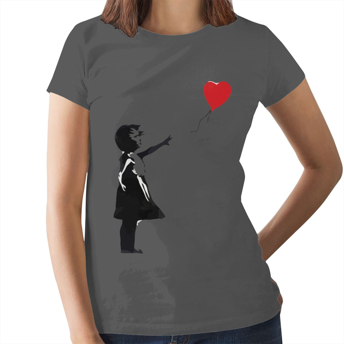 Heart Love T-Shirt Banksy Girl With Balloon T Shirt Trendy Purple Women tshirt Cotton Graphic Ladies Tee Shirt 13