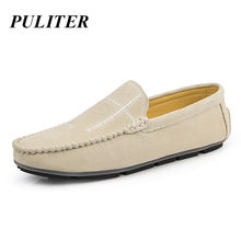 PUTILER Suede leather Casual Shoes Men Loafers Luxury Brand Italian Fashion Designer Moccasins For Men Lightweight Loafers Skor(China)