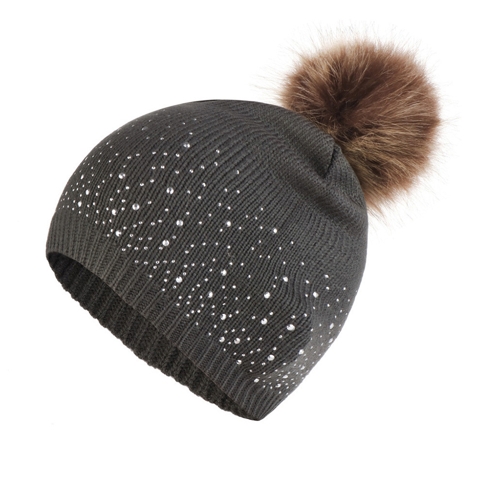 Women Outdoor Soft Windproof Warm Elastic Rhinestone Studded Daily Fashion Knitted Hat Hemming Casual Autumn Winter Plush Ball