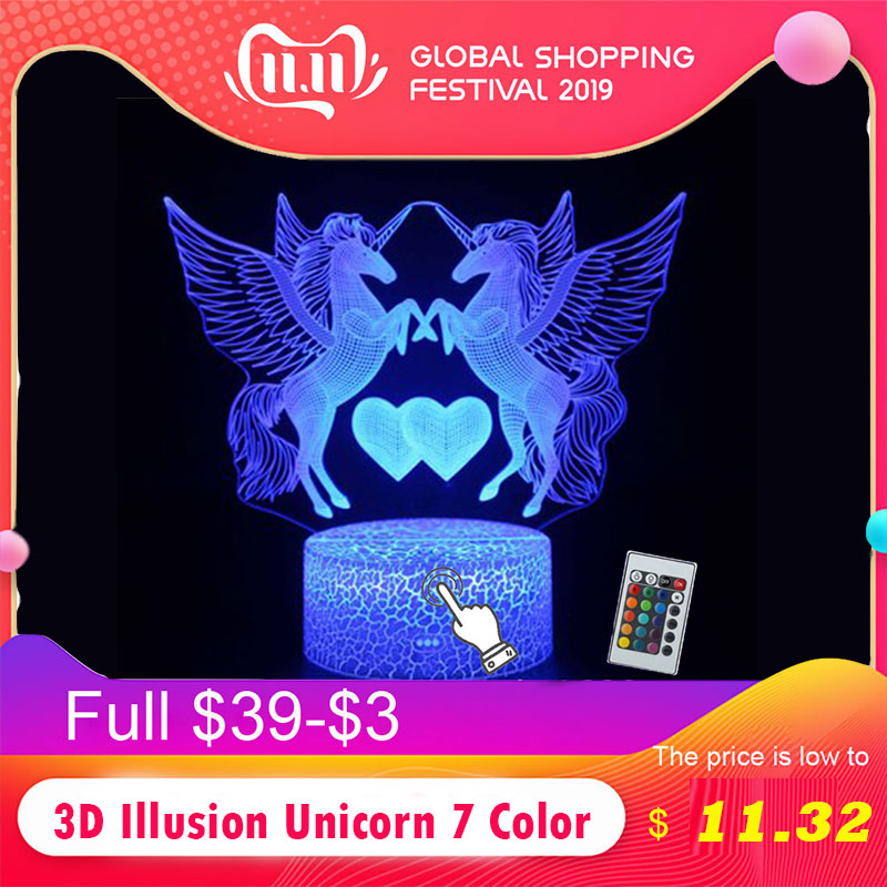 3D Illusion Unicorn 7 Color LED Remote Control Toys Touch Sleeping Nightlight Animal Light Up Glow In The Dark Toy Birthday Gift