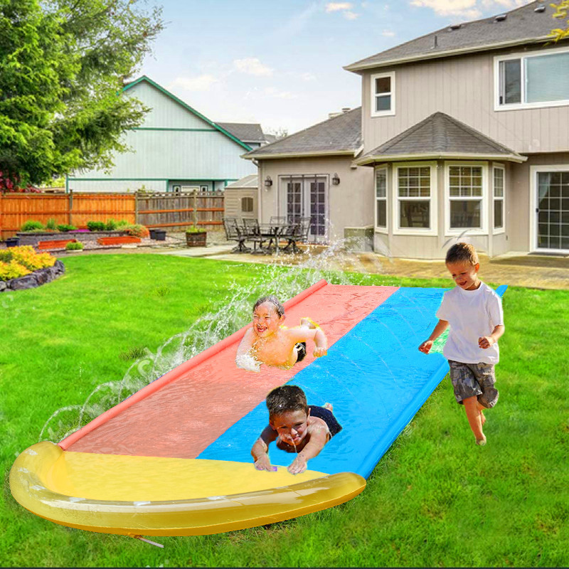 Outdoor Water Spray Game Mat Water Slide Lawn Water Play Toy Inflatable Double Surfer Water Spray Mat Kids Outdoor Rainbow Mat