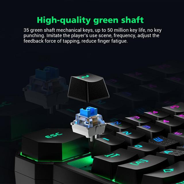 Black Shark  Mechanical Keyboard Wireless Bluetooth Compatible for Android iOS RGB LED Backlit Protable Keypad 4