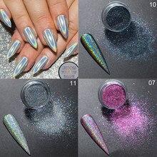 Pó em flocos de polonês do gel de shimmer do pó do prego do cromo do brilho da prata do laser das unhas para o pigmento