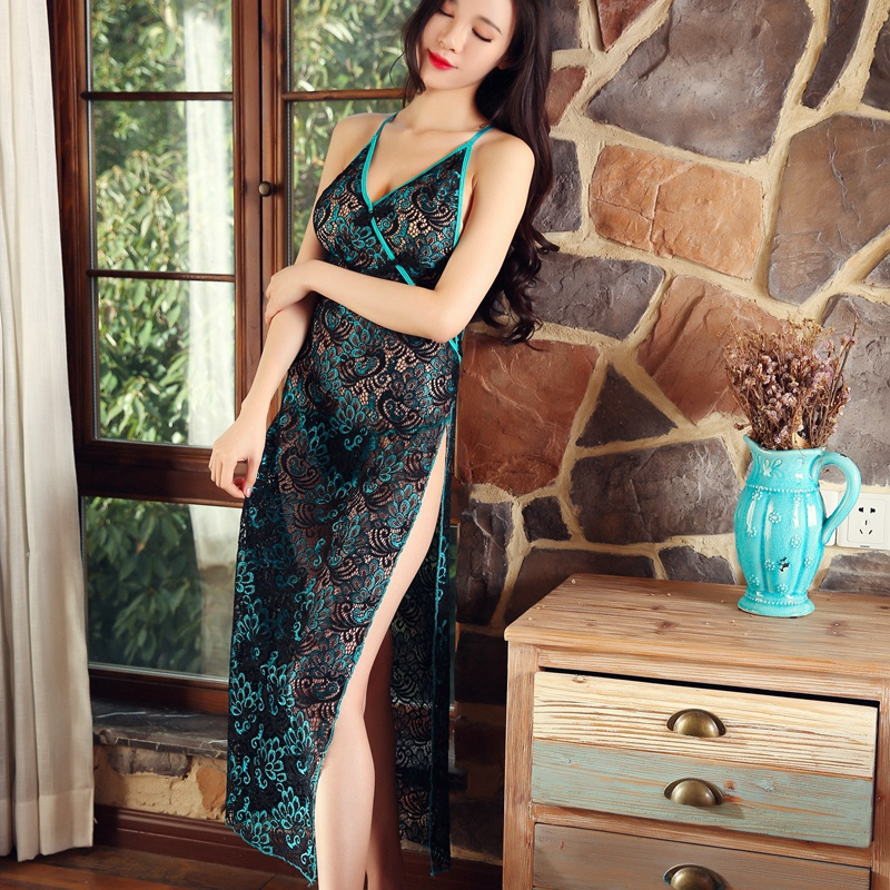 Lace Vintage Nightgowns Backless Lingerie Dress Women Sleepwear Chinese Cheongsam Night Dress See Though Dressing Gown Green