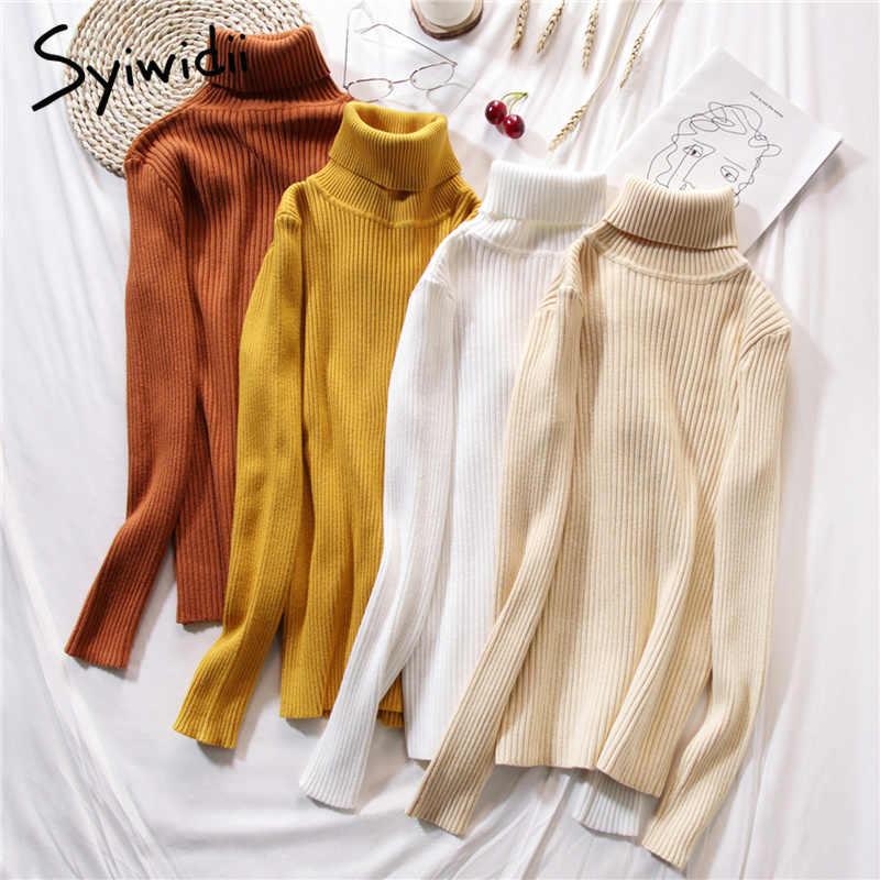 Stretch Frauen Pullover Rollkragen Pullover weiche Primer Shirt Langarm Koreanische Dünne-fit Engen Pullover 2019 Herbst Winter Feste