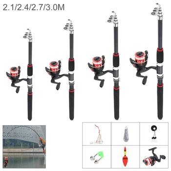 High Quality Fishing Rod and Reel Set Telescopic Spinning Fishing Rod and Reel Combos Full Kit Fishing Gear Pole Set new lure rod set spinning rod fishing reel combos full kit 1 8m 3 0m fishing rod pole reel line lures hooks portable bag