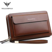 2019 Men Wallet Clutch Genuine Leather Brand WILLIAMPOLO Wallet Male Organizer Cell Phone Clutch Bag Long Purse Zipper Hand Bag(China)