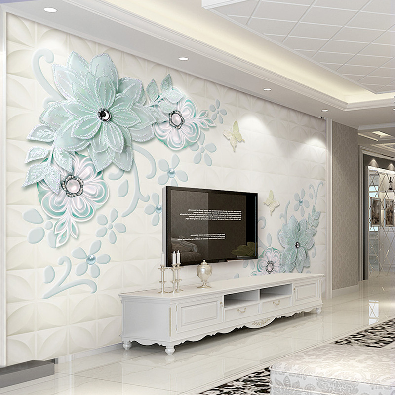 European Style Blue Luxury 3D Butterfly Jewelry Flower TV Backdrop Wallpaper 5D TV Wall Mural Bedroom 8D Wall