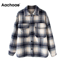 Aachoae Casual Plaid Jacket Women Long Sleeve Loose Coat Female Pockets Turn Dow