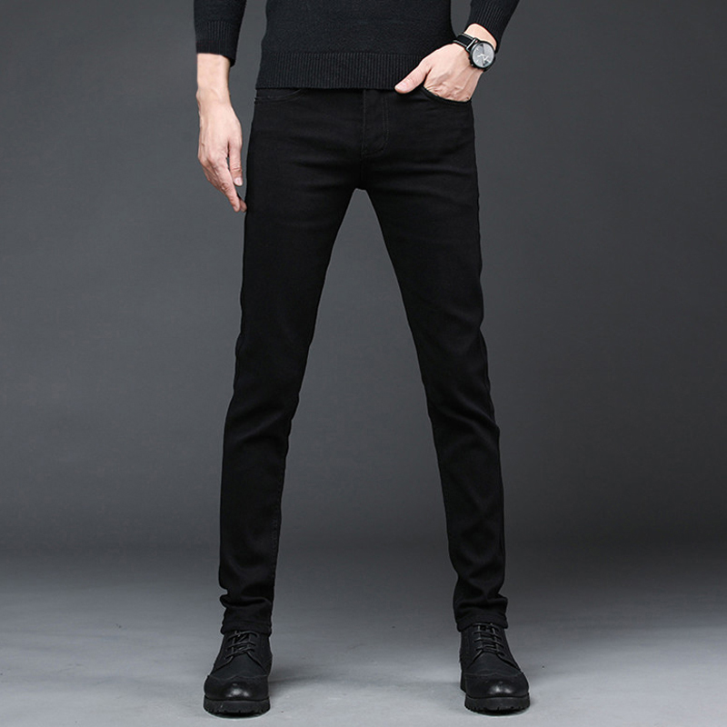 2020 New Arrival Men's Denim Jeans Straight Full Length Pants with High Elasticity Slim Pants Man Fashion Mid-waist Jeans men 3
