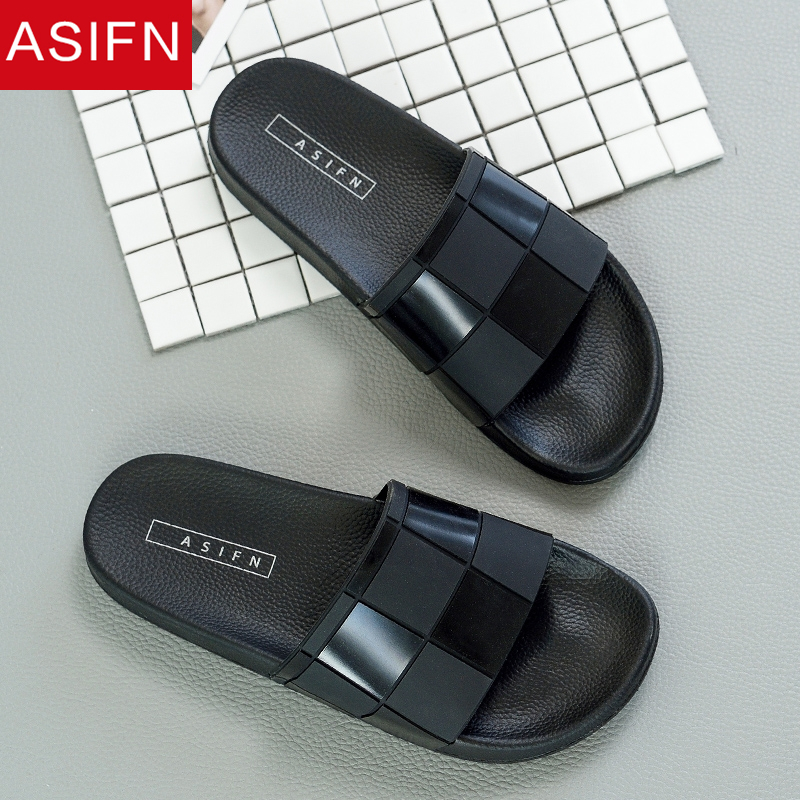 ASIFN Slippers For Men Flip Flops Mosaic Lattice Slides Women Summer Male Type Couple Beach Shoes Home Zapatos Mujer Wholesale