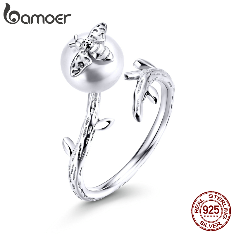 Bamoer Real 925 Sterling Silver Bee On The Pearl Open Adjustable Finger Rings For Women Elegant Fashion Jewelry BSR101