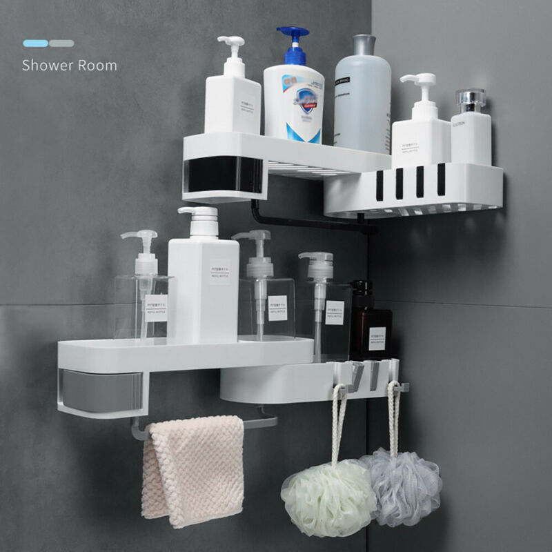 2020 Bathroom Corner Storage Swivel Rack Shower Shelf Organiser Basket Tidy Rotating Tripod