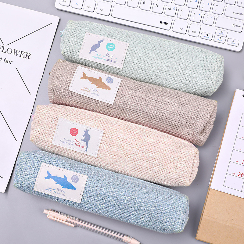 Cartoon Animal Cotton Linen Pencil Case for Student Portable Large Capacity Stationery Storage Bag Gift School Supplies Escolar