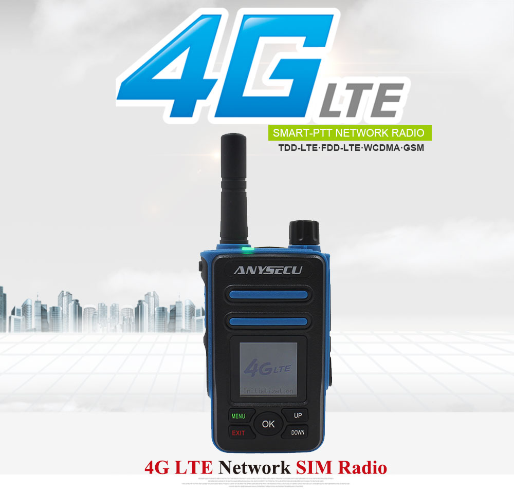 ANYSECU 4G Network Radio 4G-F8plus With GPS Work With Real-ptt LTE WCDMA GSM Walkie Talkie PC Dispatcher Intercom