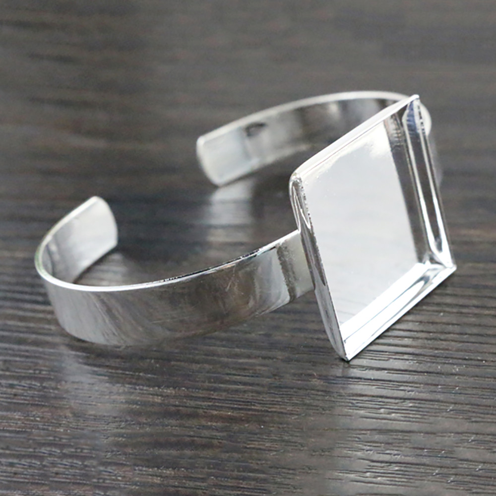 High Quality  25mm Silver Plated Square Bangle Base Bracelet Blank Findings Tray Bezel Setting Cabochon Cameo  K7-27