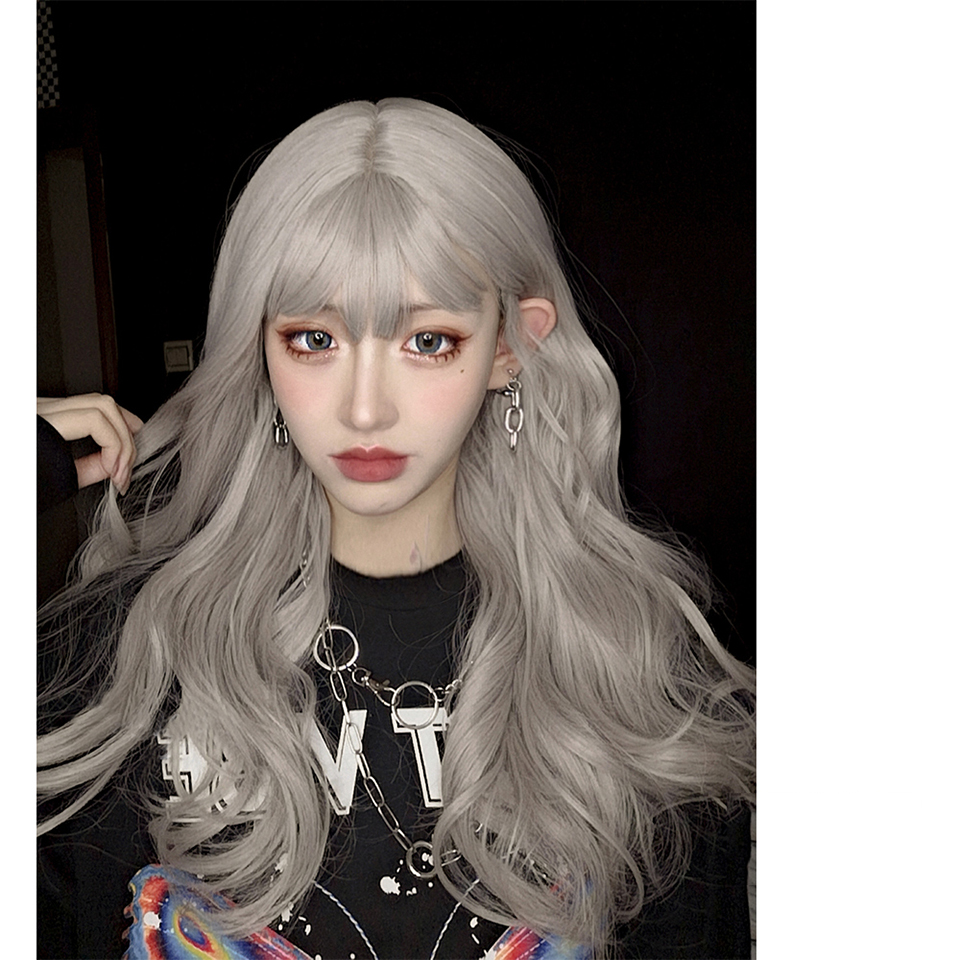 Lolita Cosplay Long Curly Hair Fluffy Air Bangs Gray Fiber High Temperature Resistant Synthetic Wig Cute Vitality Girl