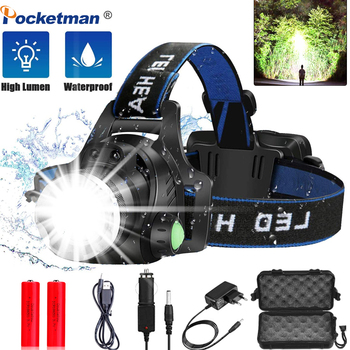 12000lumens Led Headlamp L2/T6 Waterproof Headlight Head Torch Flashlight Head lamp light by 18650 battery for Fishing Hunting boruit brand 1000lm 3w l2 led headlight mini white light head lamp flashlight outdoor sport headlamp for camping fishing hunting