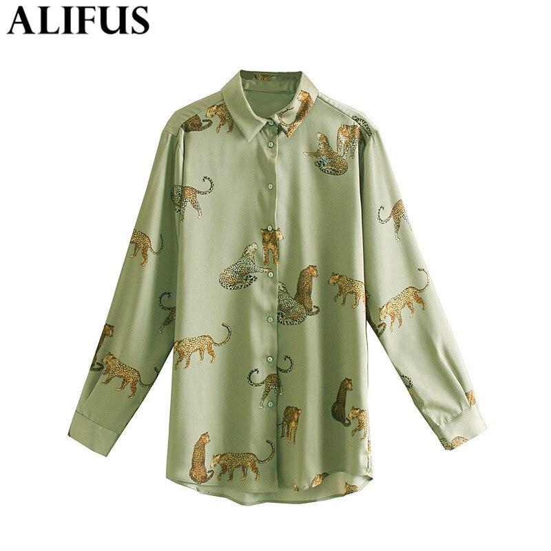 Fashion Za Women Shirt Vintage Autumn Animal Print Casual Turn-down Collar Shirts Blouses Loose Ladies Long Sleeve Blusas Tops