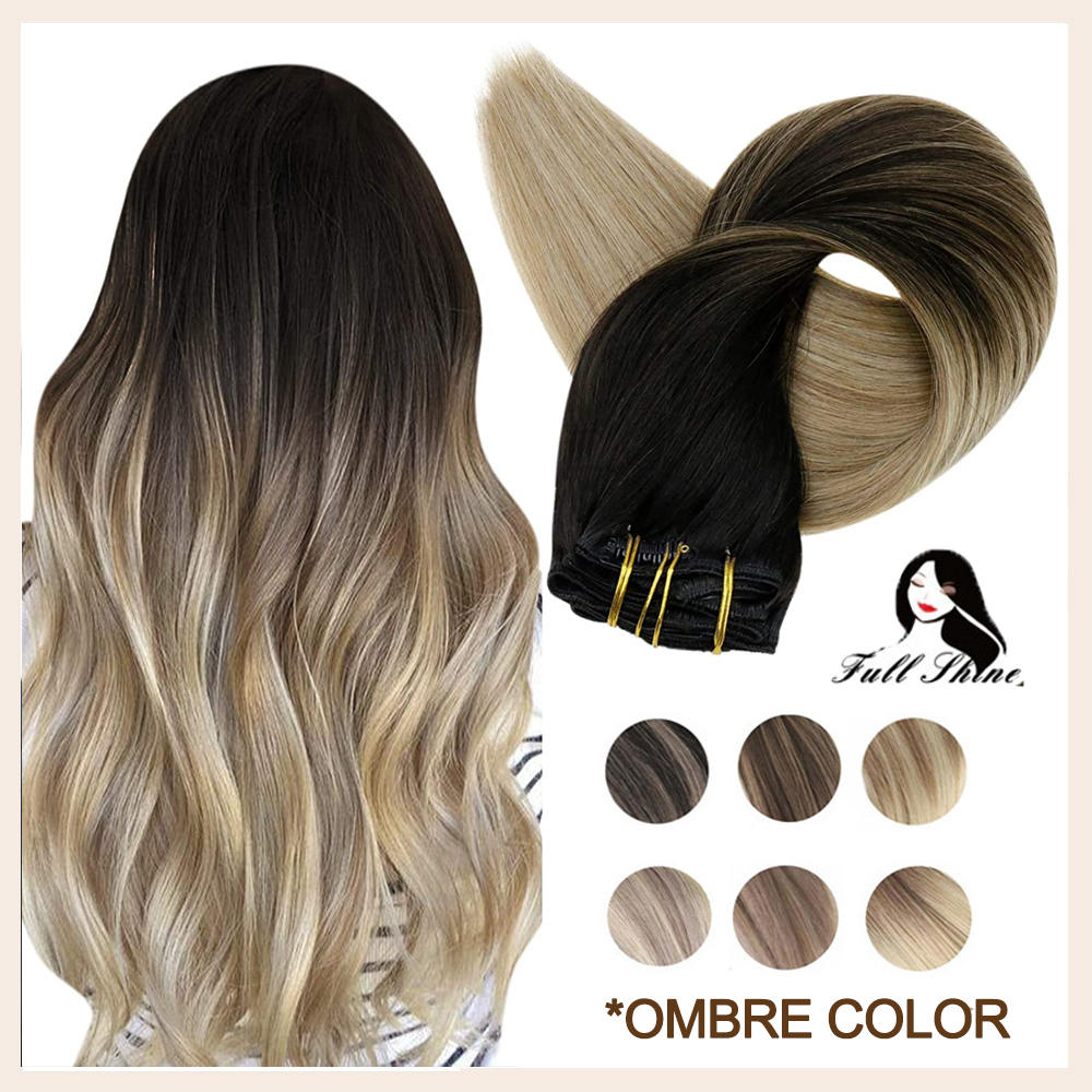 Полный зажим блеск в Пряди человеческих волос для наращивания волос наращивание волос Реми эффектом деграде (переход от темного к блондин ч...